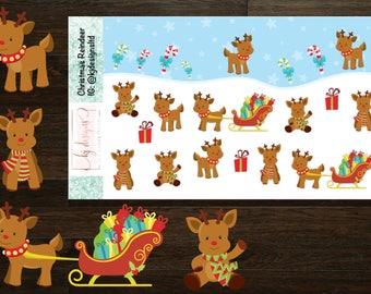 Christmas Reindeer Stickers    Planner Stickers