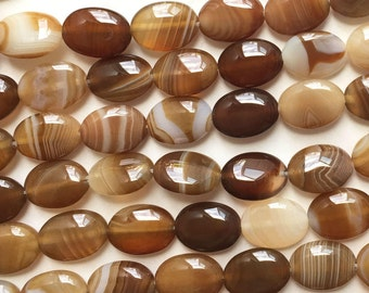 Natural Brown Striped Agate 14x10mm Flat Oval Gemstone Loose Beads