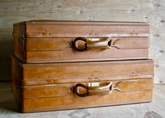 2 Piece Vintage Hartmann Leather Luggage Set/ Caramel Leather/