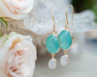 Aqua Chalcedony & Moonstone Earrings * Handmade * Gemstone * Oval * Dangle * Gold * Bohemian * Boho * Gift*BJE125