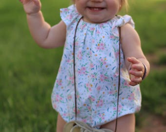 Bubble romper for baby girls - romper for toddler girls - baby girls flutter sleeve romper - spring romper for baby girl
