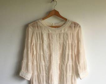 sheer blouse | crochet detail