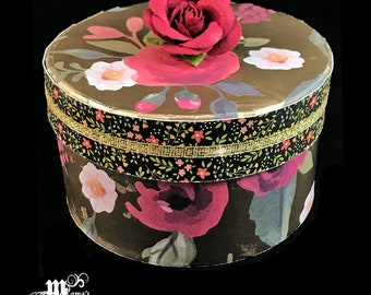 Watercolour Rose on Shimmery Gold Paper Paper Mache Jewelry Box, Red Roses, Vintage, Antique, Tiny Flowers, Floral, Wedding Keepsake, Gift