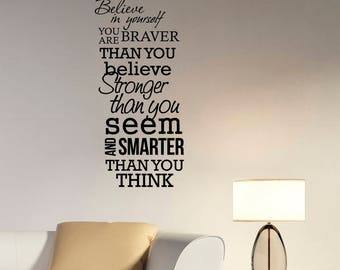Believe In Yourself Wall Decal Motivational Quote Sticker Vinyl Lettering Inspirational Art Decorations for Home Room Bedroom Decor hq26