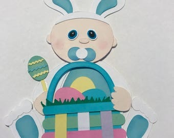 Baby's First Easter  boy with basket premade paper piecing  3D DIE CUT