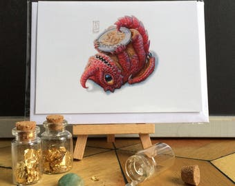 Little Red Dragon with Treasure  Greeting Card Blank Inside