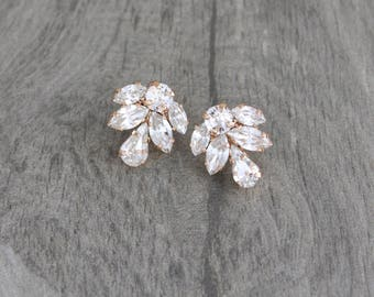 Rose gold earrings, Stud earrings, Bridal earrings, Bridal jewelry, Swarovski earrings, Crystal stud earrings, Simple earrings, Bridesmaids