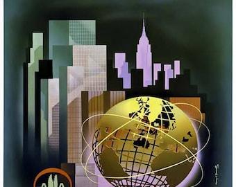 New York Worlds Fair Travel Poster - Vintage Travel Print Art - Home Decor