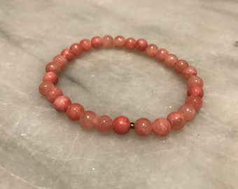 Rose Colored Stone Beaded Bracelet