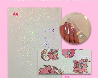 STOCK CLEARANCE SALE - Sparkle Rainbow Holographic Transparent Self Adhesive Sticker Film Sheets