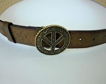Peace Symbol Belt Buckle - Wide  Brown Belt