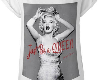 Marilyn monroe vintage organic fashion glamour Women  lady t- shirt