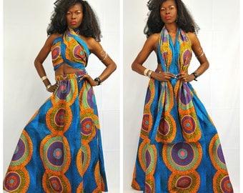 Ankara Wax African Print Maxi Skirt with Matching Head Wrap, Elastic waist Ankara Skirt, Ankara Maxi Skirt, African print Skirt - One Size