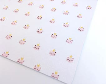 Princess Kitty Pearlized Faux Leather | Printed Faux Leather | Printed Leatherette | Custom Faux Leather Print Fabric | Printed Leather