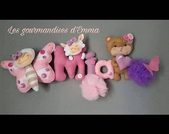 Butterfly and teddy bear themed name Garland