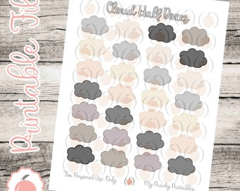 Neutral Clouds // Stickers // Planner Stickers // Printable Stickers // Half Boxes