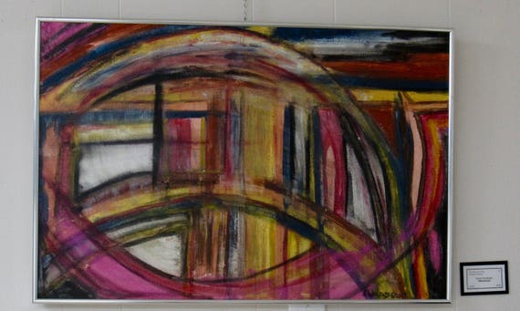 """Framed Abstract Painting """"Whirlwind"""""""