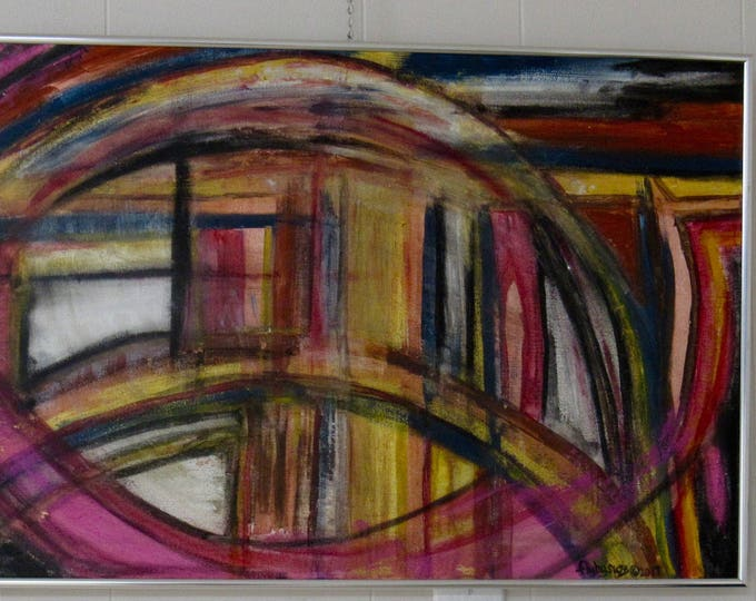 "Framed Abstract Painting ""Whirlwind"""