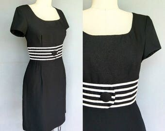 refinement / classic 90s little black dress with white striped button waist / 10 medium