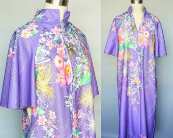 orchids / 1970s purple floral house dress duster / 10 12 medium