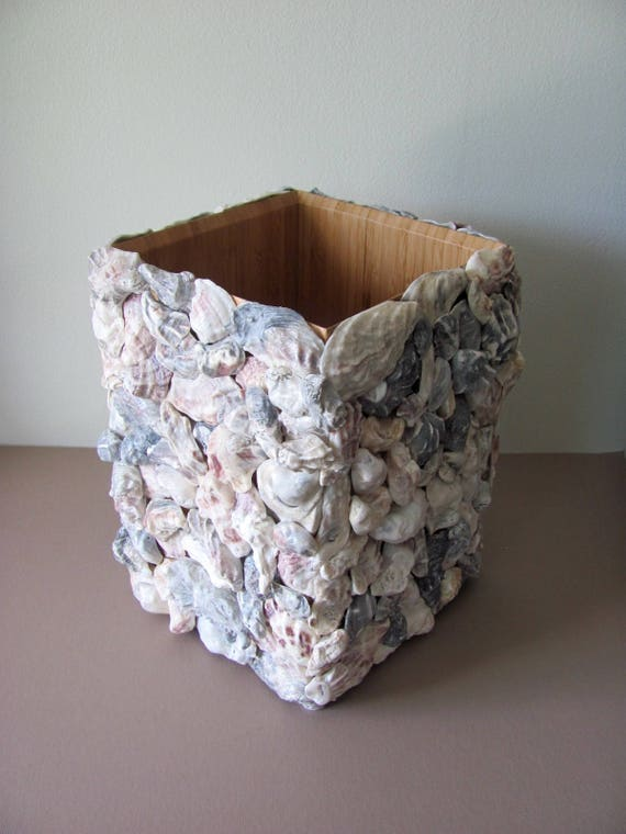 Oyster Shell Decor, Oyster Shell Bath, Beach Bathroom, Shell Wastebasket, Coastal Decor, Coastal Wastebasket, Coastal Bath