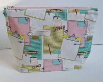 Clipboard Project Bag, Project Bag, Project Bag, Knitting Bag, Crochet bag, Zipper Pouch, Makeup Bag, Cotton Bag, Toiletry Bag,