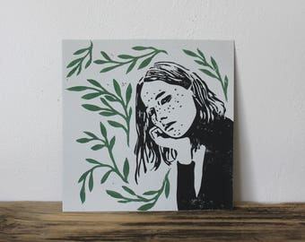 Day Dreamer With Plants #1 Square Lino Print