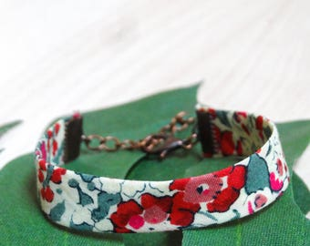 Cuff, Liberty London Claire Aude W flowers, red, green and white
