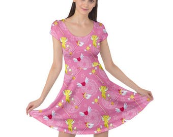 Cardcaptor Sakura Dress - Cardcaptor Sakura Short Sleeve Dress Kero Skater Dress Magical Girl Dress Anime Dress Magical Girl Skater Dress