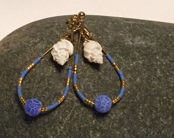 Earrings drop adorned with a shell, Creole, pendants, blue shell