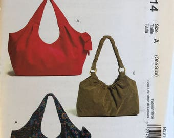 McCalls Easy stitch 'n save M5914 Hobo Bag Uncut Out of Print Pattern Copyright© 2009