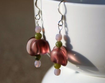 Purple Beaded Dangle Earrings, Purple Dangle Earrings, Green Beaded Earrings, Silver Earrings, Sea Glass Earrings, Green Shell Earrings
