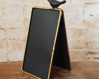 Small Gold Edged Bird Blackboard
