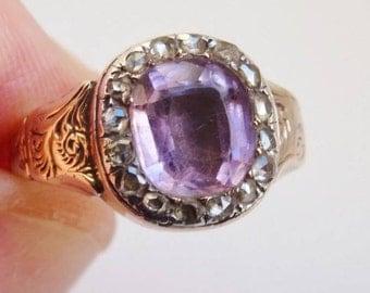 Antique Georgian Amethyst Rose Cut Diamond gold ring