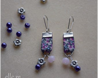 Liberty fabric with pearls, pink and purple earrings