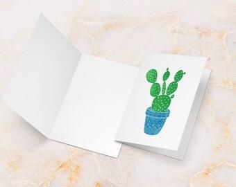 Cactus card, cactus greeting card, succulent card, linocut cactus, linocut card, cactus in pot, cactus art card, cactus print, cacti card