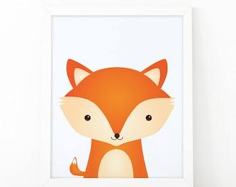 Fox Print, wall Art Print, Instant download, Nursery print, Kids Print, Safari Nursery Decor, woodland printable, Animal Nursery Printable