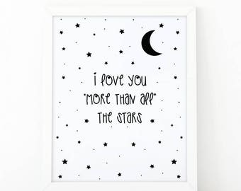 I love you more than all stars, Nursery wall decor, Love poster, printable art, i love you, stars print, Kids wall decor, nursery decor