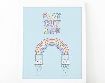 Play outside, Rainbow clouds, clouds swing, Colorful print, kids room decor, nursery rainbow, nursery wall art, playroom print, Shooshprints