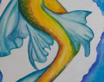"Mermaid Watercolor & Acrylic Painting (""Amatheia Revitalized"")"
