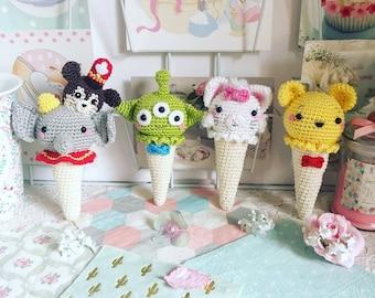 Crème glacée Dumbo, Alien de Toy story, Marie des Aristochats ou disney Winnie l'ourson au crochet amigurumi