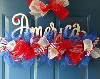 America Patriotic Deco Mesh Door Sign