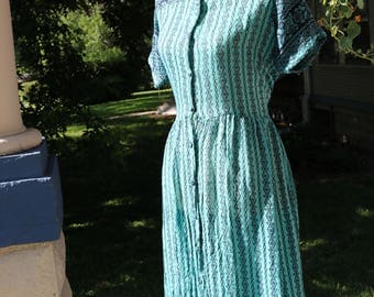 80s/90s Sheer Turquoise Indian Cotton Dress