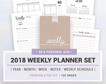 2018 WEEKLY PLANNER SET, printable, yearly and monthly calendar, weekly planner, note pages, weekly schedule, A6 and personal size