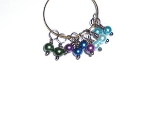 10PC. Purple/Green/Blue Mix Pearlized Glass 13MM x 4MM Handmade Bead Dangle Charm/10Pc. Bead Charms Adorned with Gunmetal Tone Plated Accent