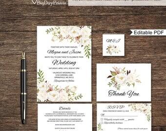 Floral Wedding Invitation Template, White Boho Chic Wedding Invitation Suite, Wedding Set, #A053-A, Instant Download, Editable PDF