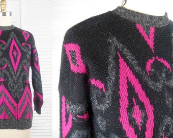 VINTAGE 80s Abstract Patterned Black Grey & Pink Knit Womens Jumper Sweater