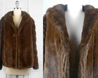 VINTAGE 60s or 70s Otex Brown Faux Fur Coat Jacket Australian Made