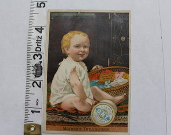 Antique Victorian Trade Card - Clark's Spool Cotton Little boy with thread