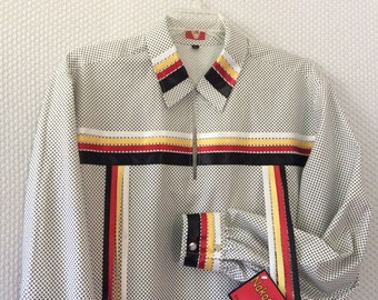 "Native American Regalia*Nakoda Made*Traditional WHITE and BLACK Calico Pow Wow Ribbon Shirt © Size L (36-40"")"